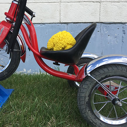 Child's tricycle with a plastic blue bain on the seat